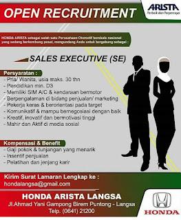 Lowongan Kerja Aceh Honda Arista Langsa