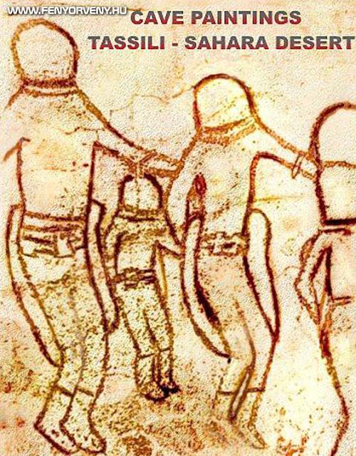 Ősi asztronauták barlang rajza (Szahara sivatag)