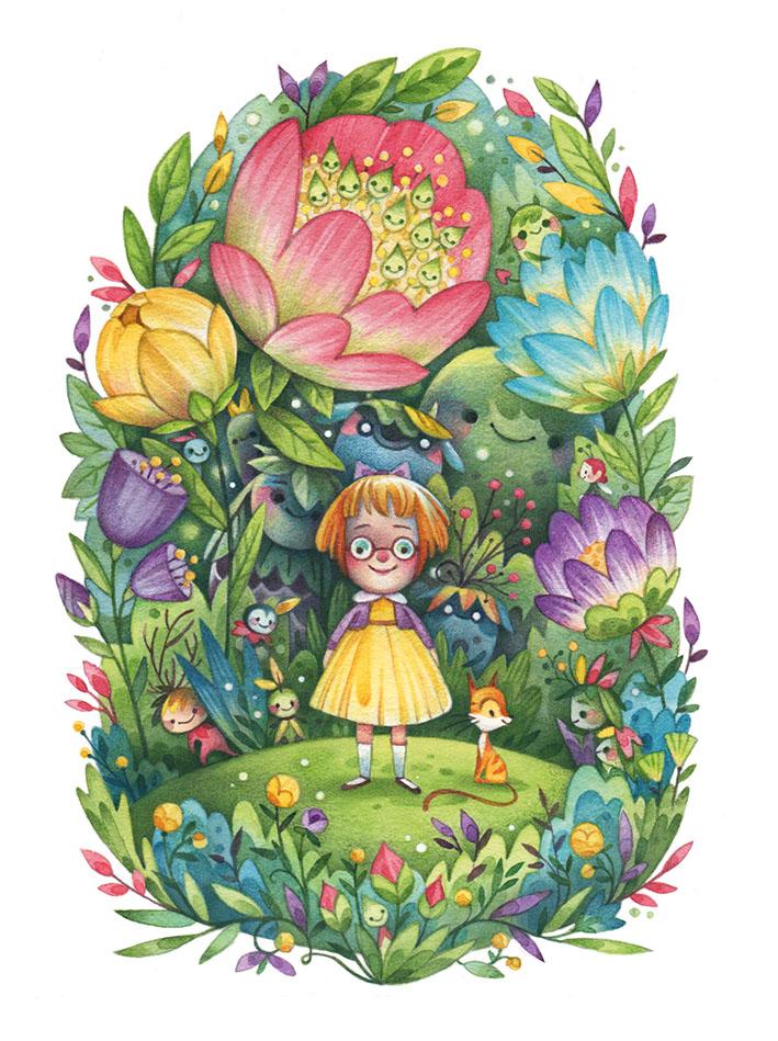 Virginia's Garden Watercolor Children's Illustration