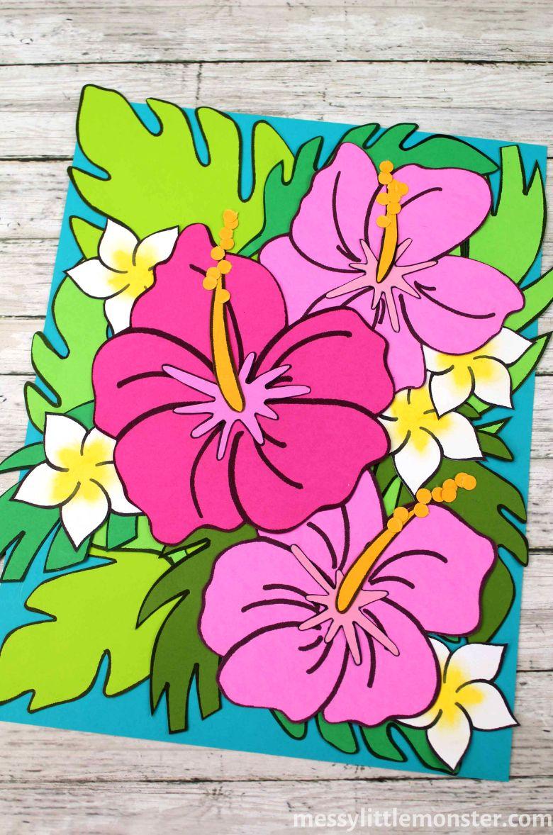 Spring crafts for kids - tropical paper flower craft