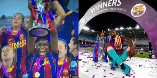 Nigeria Striker, Asisat Oshoala Becomes First African To Win Women's Champions League (Photos)