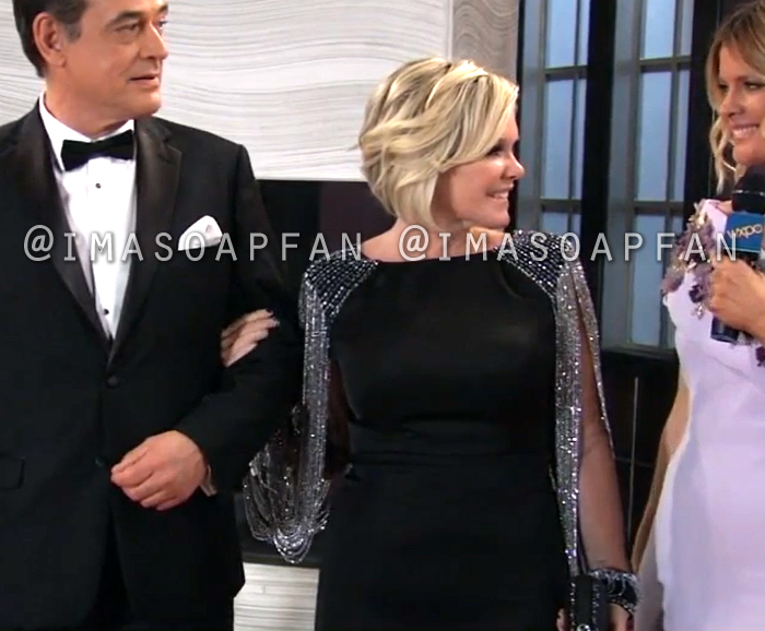 Ava Jerome, Maura West, Black and Silver Beaded Chain Sleeve Column Gown, Nurses Ball, General Hospital, GH