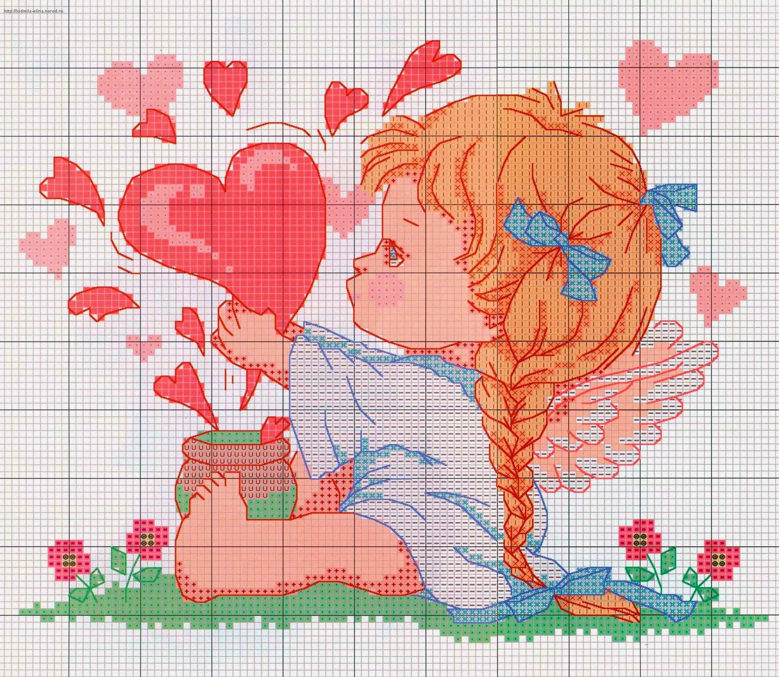 Вышивка крестиком - схемы вышивок сердечек. Обсуждение на ...
