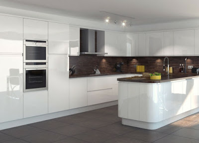 stunning white u kitchen cabinets with the cooking area in the center