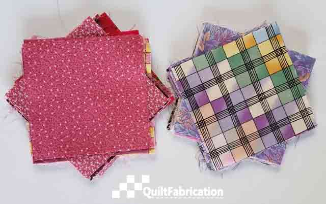 pink and purple quilt charm squares