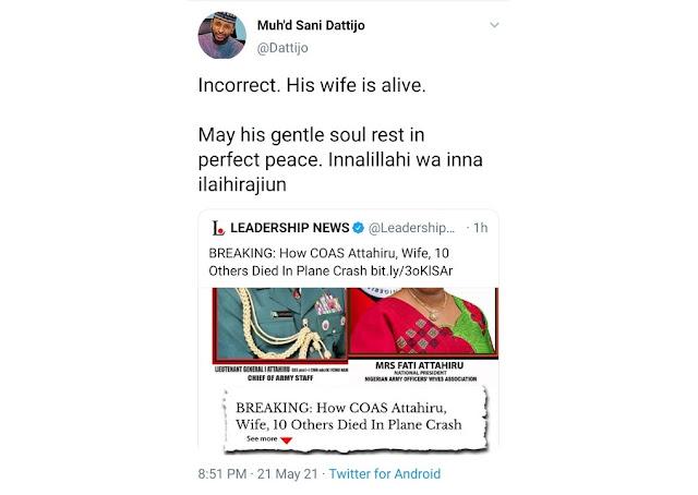 Update: Fati, Ibrahim Attahiru's Wife Is Alive, Not Dead