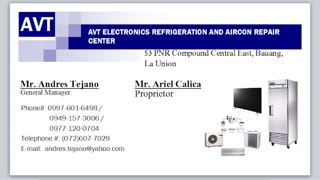 A.V.T. ELECTRONICS REF.AND AIRCON REPAIR SHOP