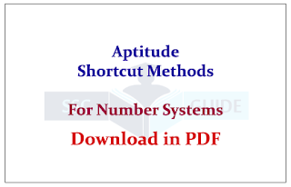 Aptitude Shortcut Methods and Rules for Number System Download