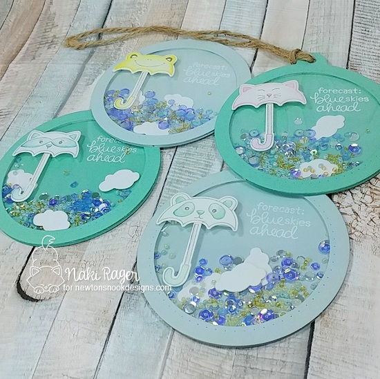 Umbrella Shaker Tags by Nakaba Rager | Umbrella Pals Stamp Set by Newton's Nook Designs #newtonsnook #handmade