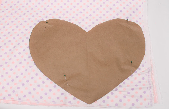 Paper heart pattern on fabric