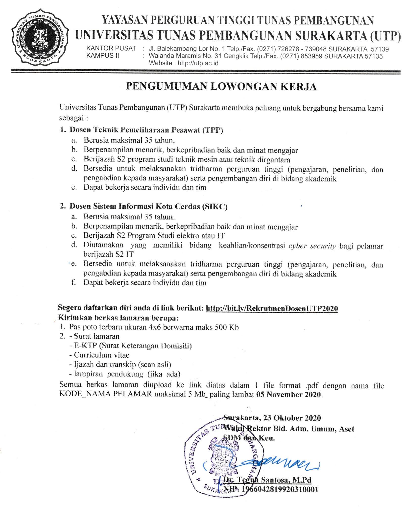 Lowongan Dosen UTP Surakarta