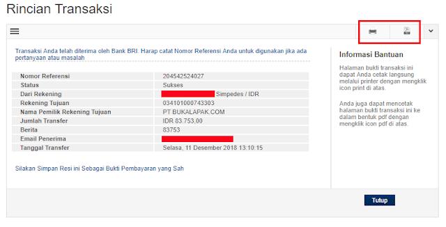 Cetak bukti Transfer Internet Banking BRI