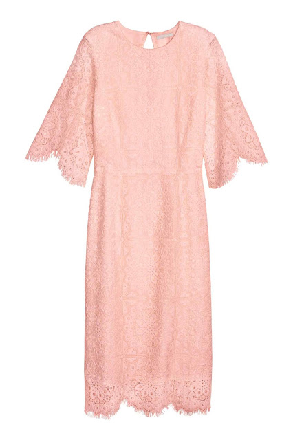 light pink lace dress, mid sleeve lace dress