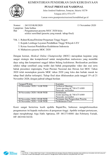 jpengumuman peserta lolos dan jadwal medical online championship moc tahap final tahun 2020 pdf tomatalikuang.com
