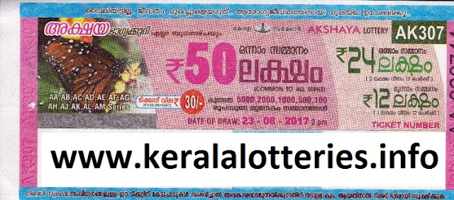 Akshaya (AK-307) August 23, 2017 - Kerala Lottery Result