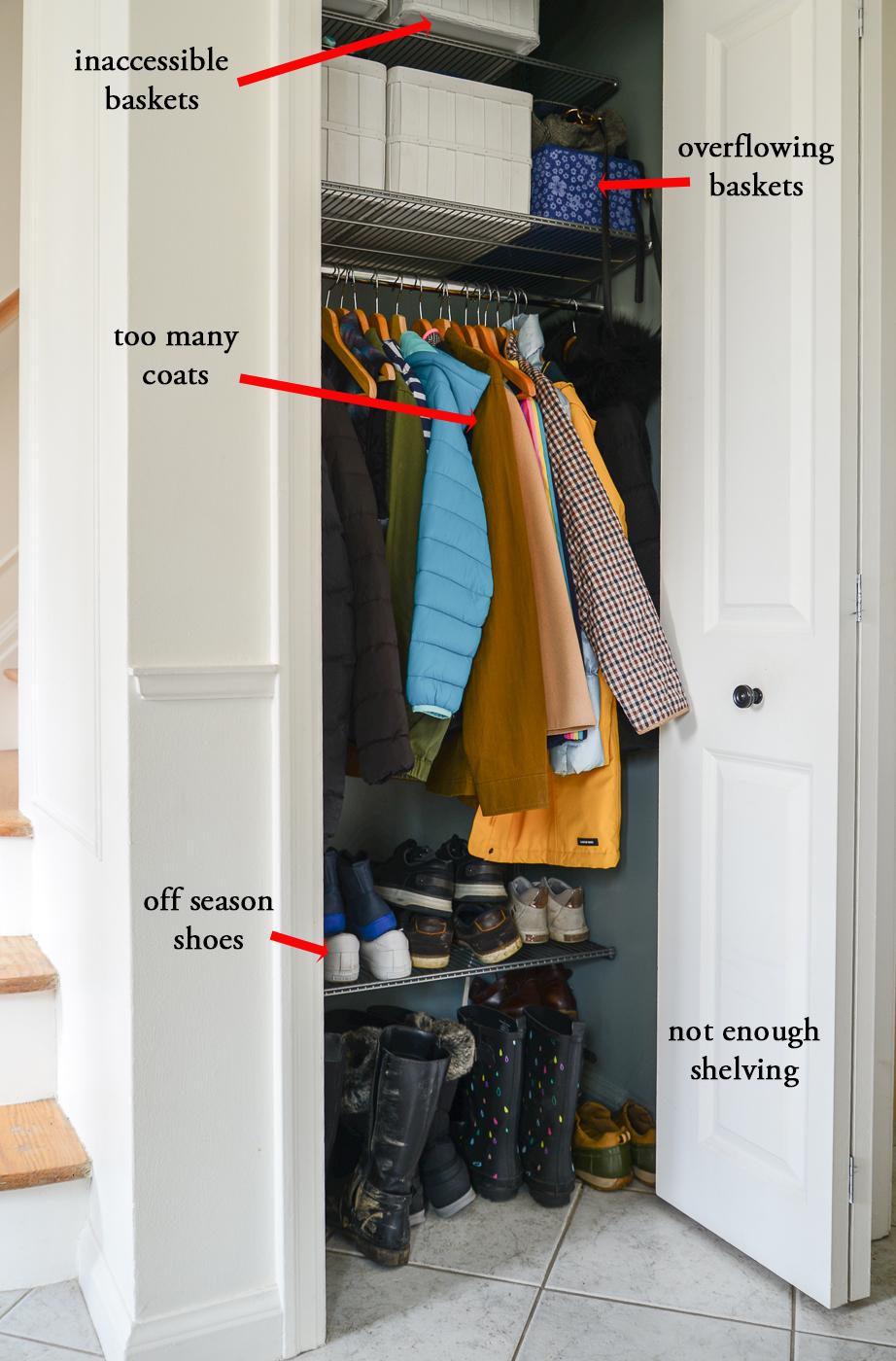 entryway closet organization, small front closet organization, small closet organization ideas