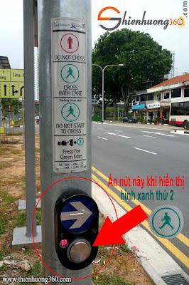 Nút bấm xin qua đường ở các trạm giao thông Singapore