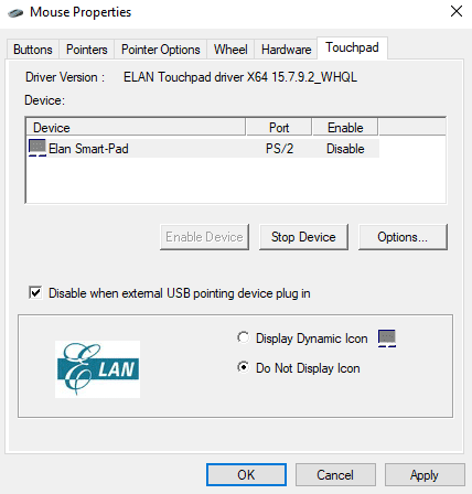 Disable When External Pointng Device Plugged