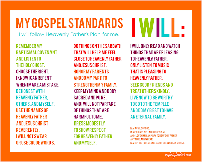 My Gospel Standards for LDS Primary, printable