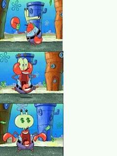 Polosan meme spongebob dan patrick 30 - tuan krab mata duitan