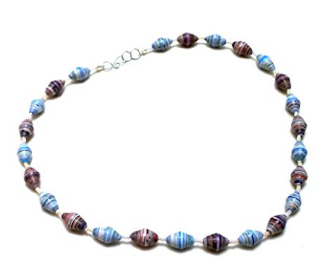 Necklace handmade from paper beads by Mimi Pinto