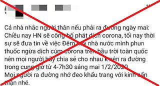 """THÔNG TIN """"PHUN THUỐC NGỪA CORONA TRÊN BẦU TRỜI TOÀN QUỐC"""" LÀ BỊA ĐẶT"""