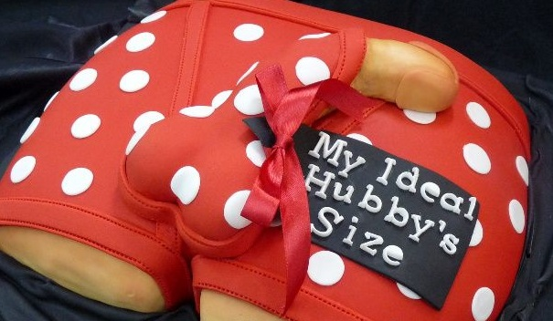 Bachelorette Cake Ideas as dick peeping inside undies in red color image