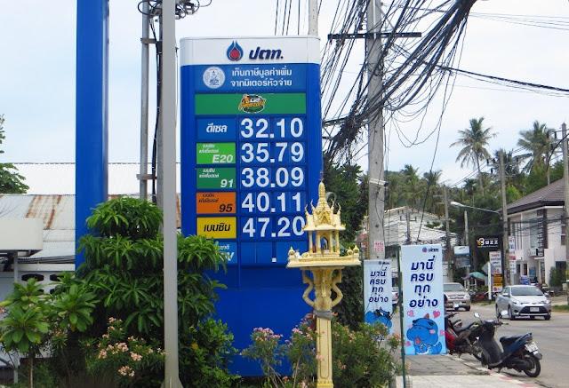 Цена на бензин в Таиланде в августе 2014