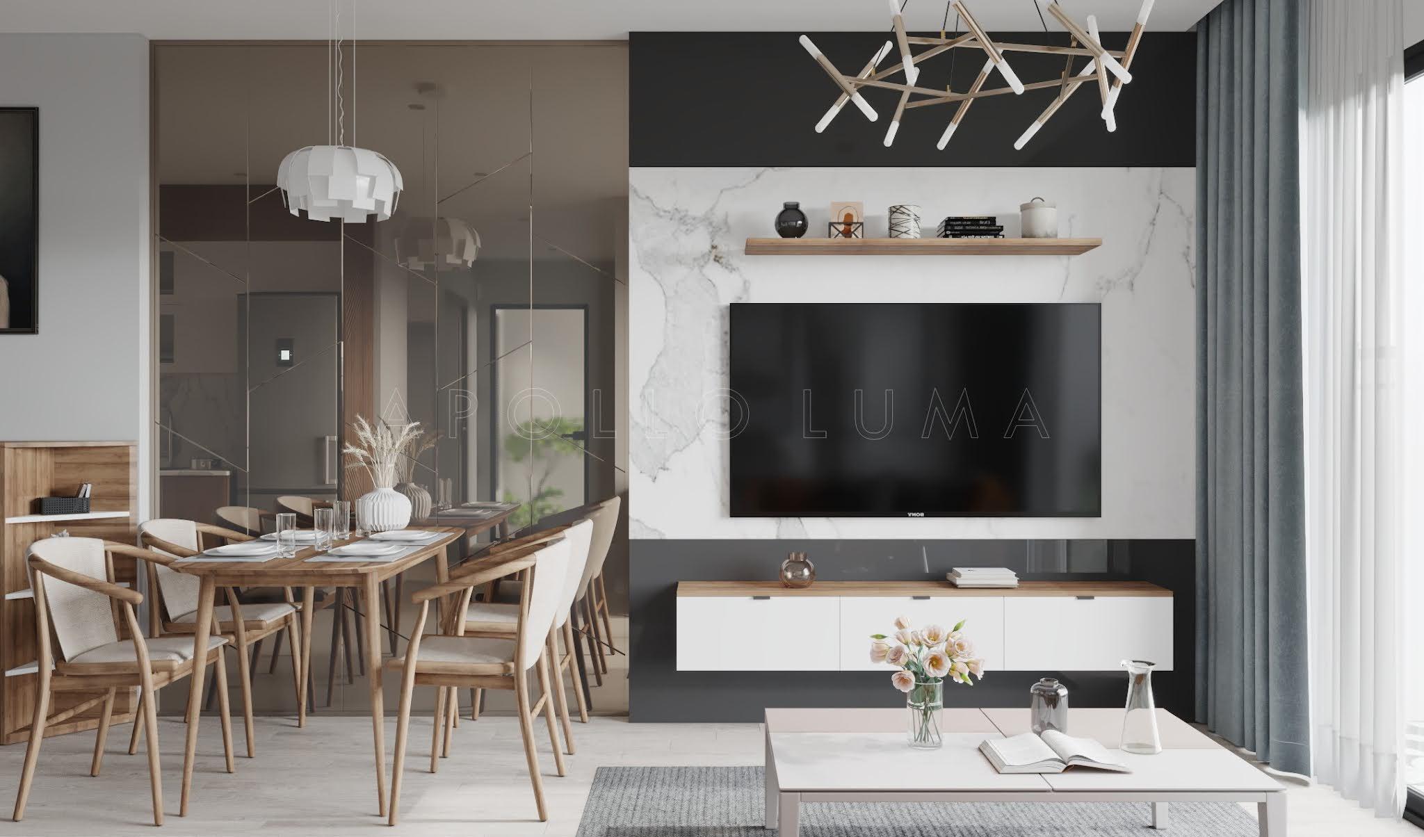 Thiết kế nội thất căn hộ 2 phòng ngủ 55m2 Vinhomes Smart City Tây Mỗ phong cách hiện đại