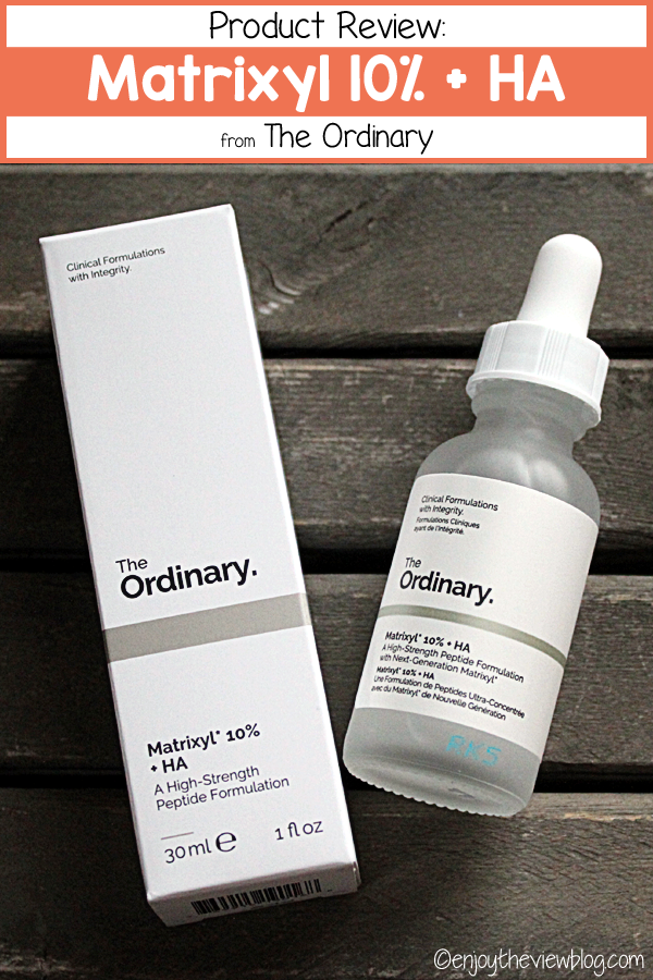 Pinnable image of the Matrixyl 10% + HA from The Ordinary with a heading indicating it is a product review