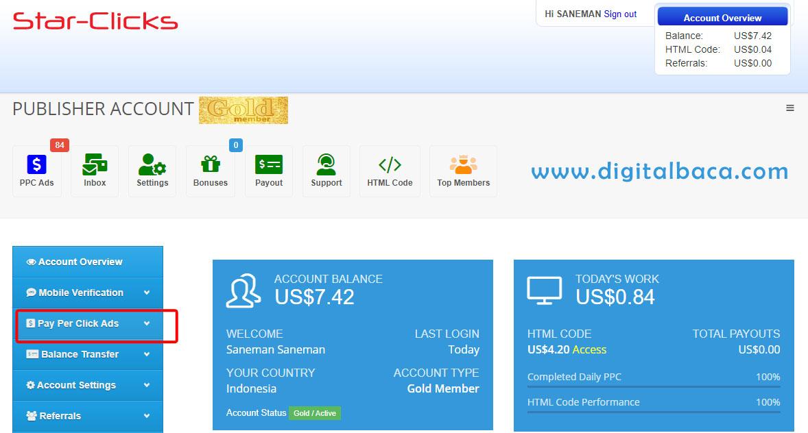penghasil dollar gratis,dollar gratis,star click,klik dibayar dollar