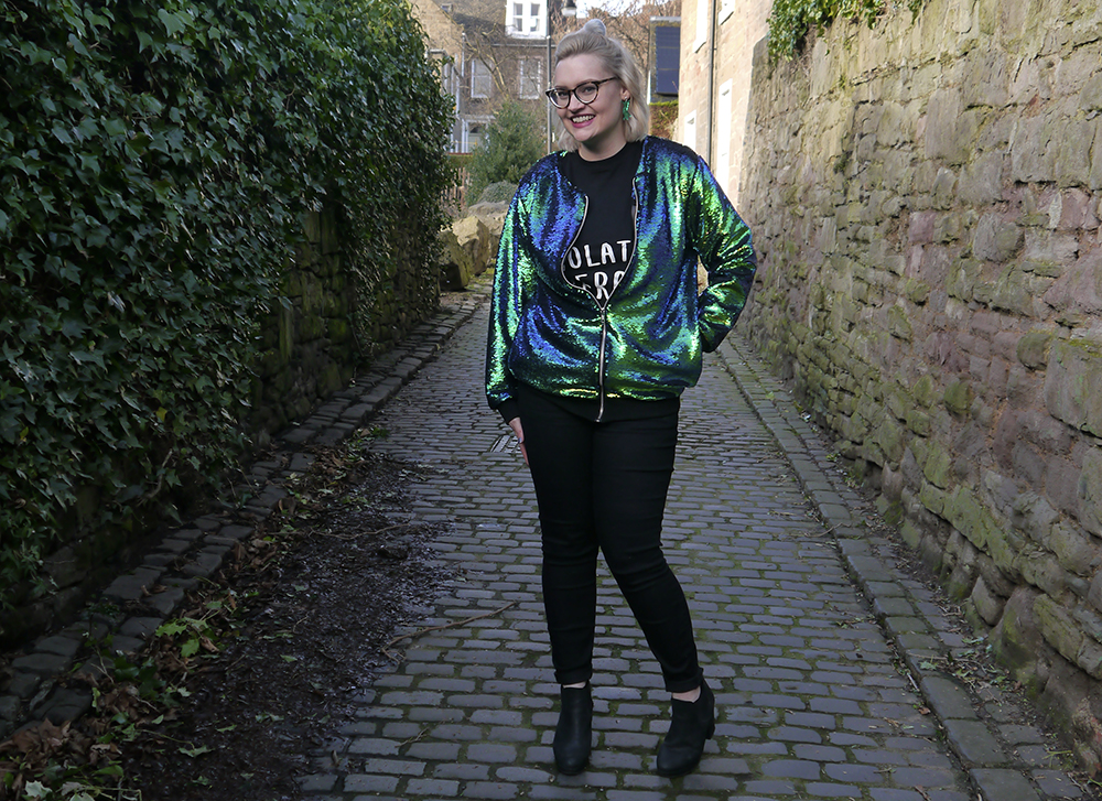 90s vibe by Scottish fashion blogger Kimberley wearing mermaid sequin bomber jacket by Scottish designer isolated heroes
