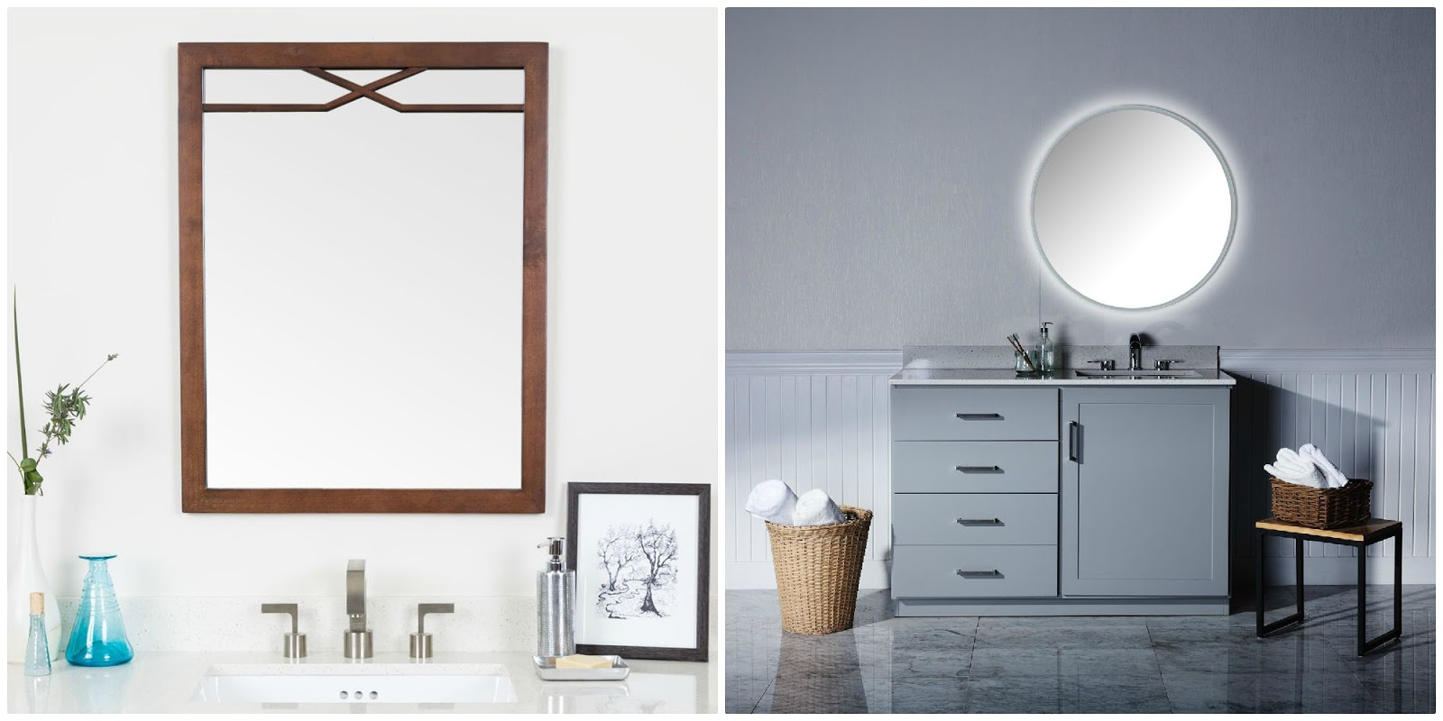 Unique Framed Wall Mirror Round LED Mirror