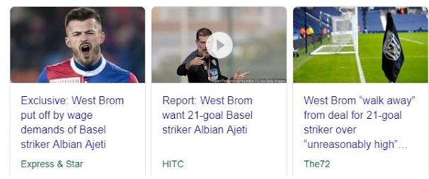 Albian Ajeti could play for West Bromwich Albion team
