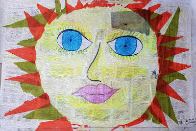 sunshine collage paper mache face