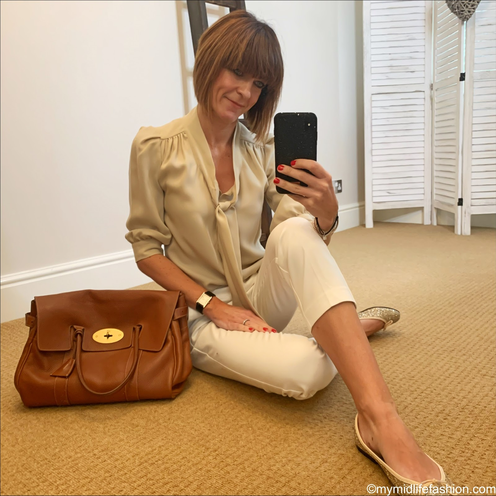 my midlife fashion, mulberry pussy bow blouse, mulberry bayswater tote, French sole Henriette glitter ballet pumps, marks and Spencer Mia slim cropped trousers
