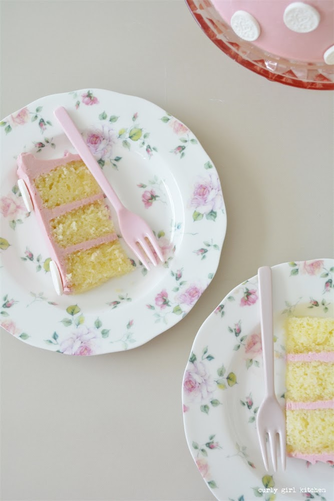 Raspberry Lemon Cake, Lemon Cake, High Altitude Cakes, High Altitude Lemon Cake, Valentines Cake, Pink Polkadot Cake, White Chocolate Rose, White Chocolate Flowers, Buttercream Cake with Flowers