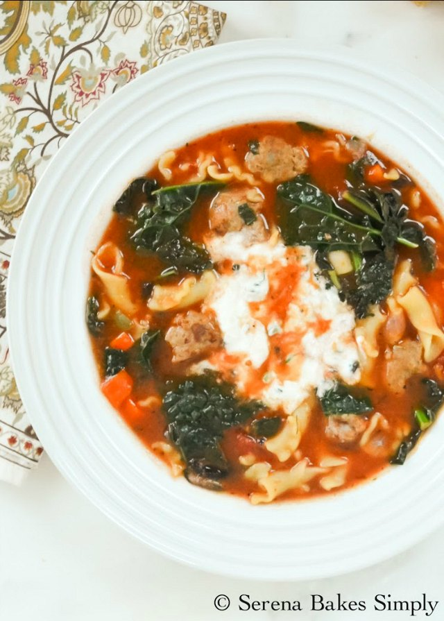 Sausage Kale Lasagna Soup recipe is an easy to make bowl of comfort food from Serena Bakes Simply From Scratch.