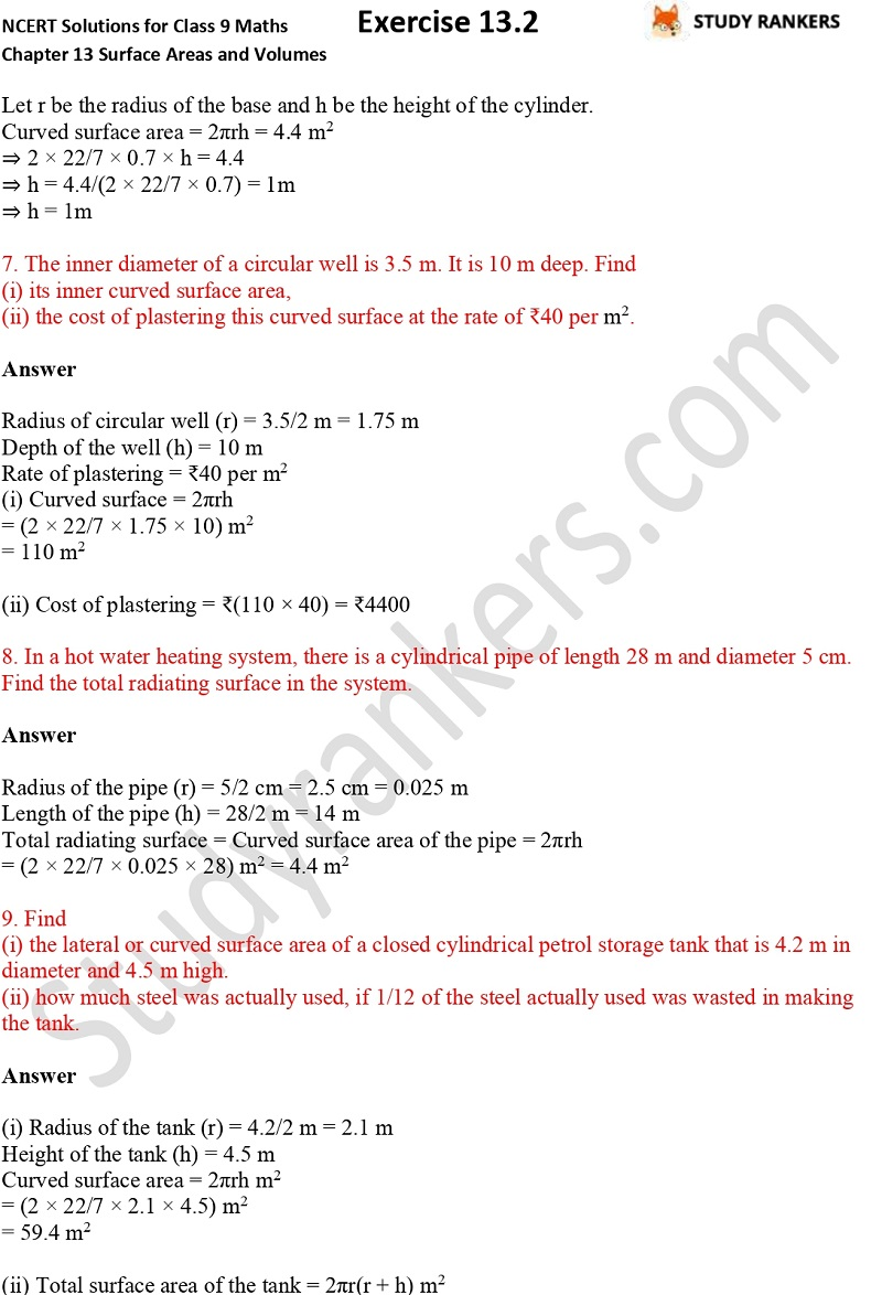 NCERT Solutions for Class 9 Maths Chapter 13 Surface Areas and Volumes Exercise 13.2 Part 3