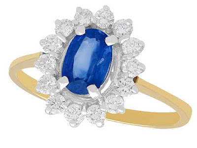 Antique Sapphire and diamond cluster ring