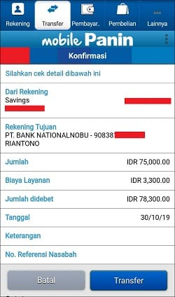 Mengisi Saldo OVO Lewat Mobile Banking Panin
