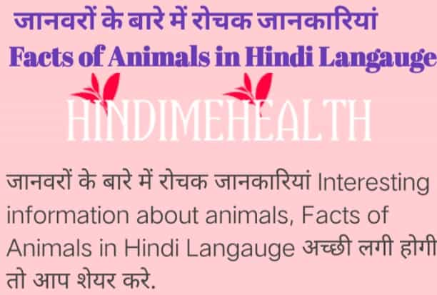 Facts of Animals in Hindi Langauge