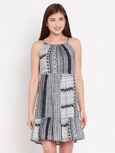 navy printed flared dress