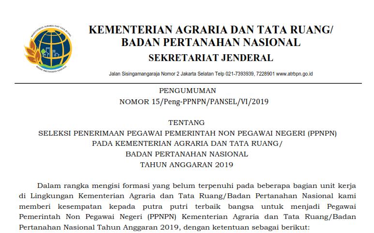 Lowongan Kerja Badan Pertanahan Nasional