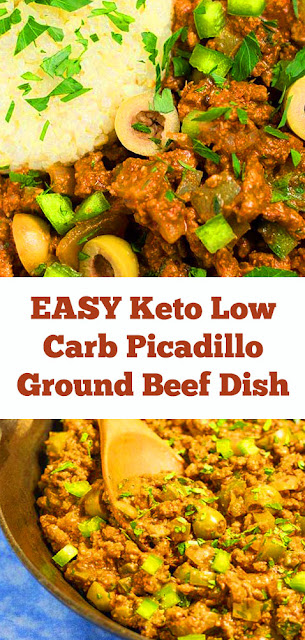 Keto Low Carb Picadillo Ground Beef Dish Recipe #keto #lowcarb #maindish #ketodinner #groundbeef #picadillo #beef #easydinner #whole30 #dish