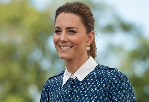 Kate Middleton wore a new floral print shirt dress by Beulah London. Crown Princess wore the same dress. Patrick Mavros quartz earrings