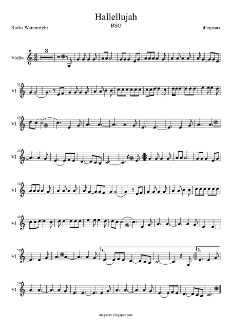 Partitura de Violín de Hallelujah de Shrek para tocarla junto a la música. Sheet music for Hallelujah Violin (music score for violin Hallelujah)