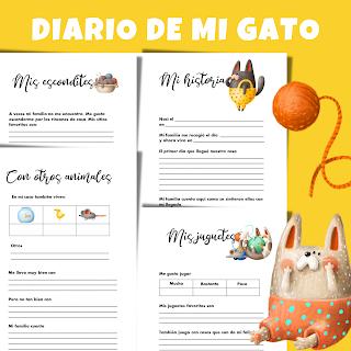 diario, mascota, gato, gatos, imprimibles, a4, pdf