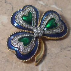 D'Orlan heart brooch with pave rhinestone
