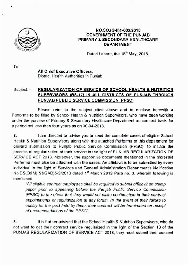 REGULARIZATION OF SERVICE OF SCHOOL HEALTH & NUTRITION SUPERVISORS (BS-17) IN ALL DISTRICTS OF PUNJAB THROUGH PUNJAB PUBLIC SERVICE COMMISSION (PPSC)
